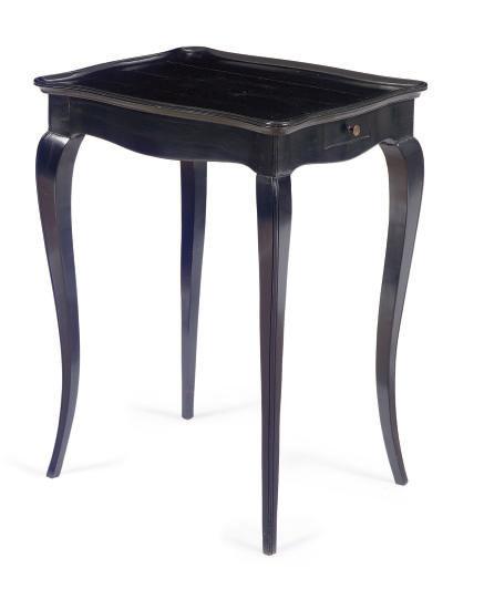 A FRENCH EBONIZED SIDE TABLE,