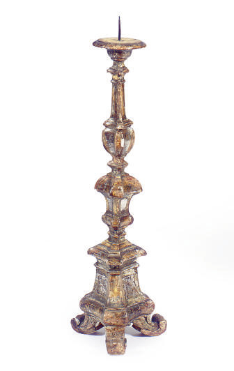 A SILVERED AND GILTWOOD PRICKE