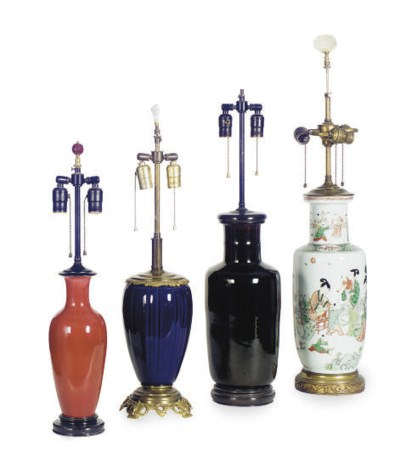 FOUR VASES MOUNTED AS LAMPS,