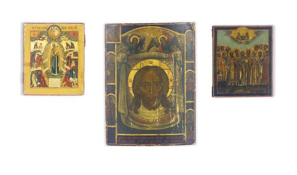 THREE RUSSIAN ICONS,