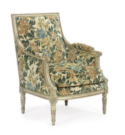 A FRENCH PAINTED AND UPHOLSTER