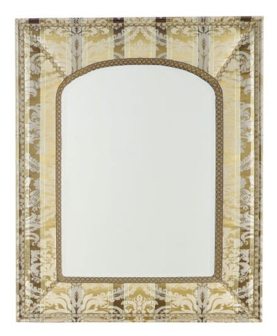 A DAMASK UPHOLSTERED MIRROR,