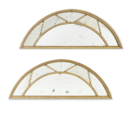A PAIR OF GILTWOOD MIRRORED PA