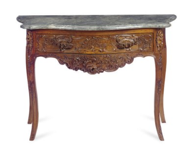 A LOUIS XV WALNUT AND MARBLE-T