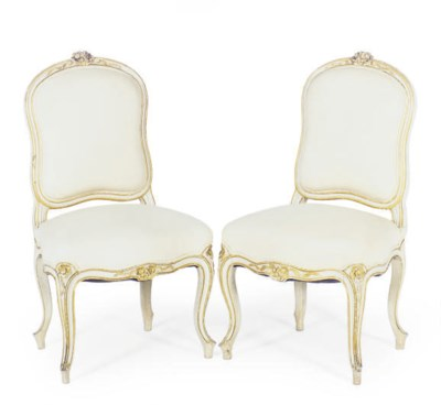 A PAIR OF FRENCH WHITE-PAINTED