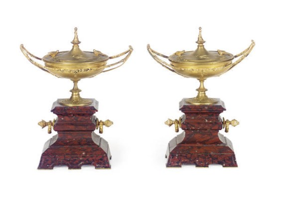 A PAIR OF ORMOLU AND RED GRIOT