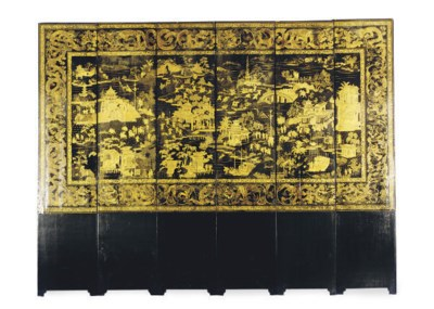 A CHINESE BLACK AND GILT-LACQU