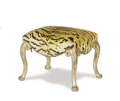 A CARVED GILTWOOD STOOL,