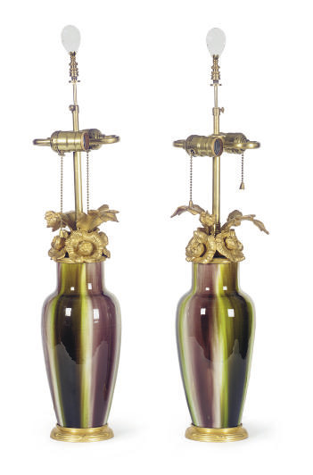 A PAIR OF FLORAL GILT-METAL MO