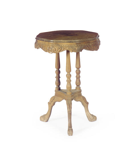 A CARVED WALNUT TRIPOD TABLE,