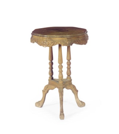 A CARVED WALNUT TRIPOD TABLE,