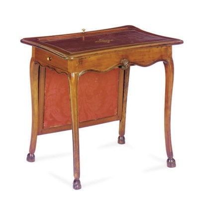 A FRENCH FRUITWOOD WRITING TAB