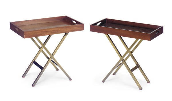 FOUR WALNUT AND METAL BUTLER'S