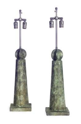 A PAIR OF BRONZE TABLE LAMPS,