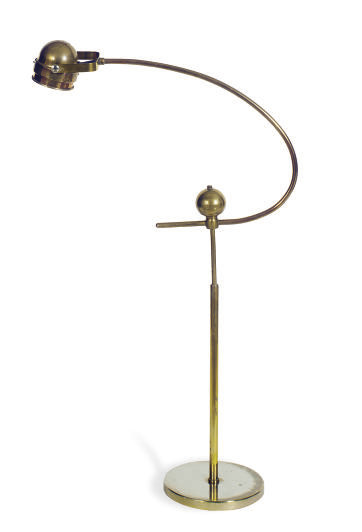 A BRASS AND CHROME FLOOR LAMP,