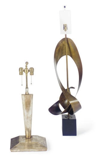 TWO SCULPTURAL TABLE LAMPS,