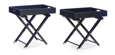 A PAIR OF EBONIZED SERVING TRA