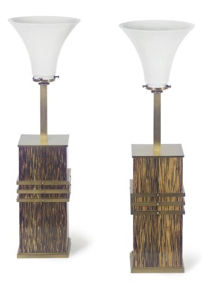 A PAIR OF STAINED WOOD AND BRA