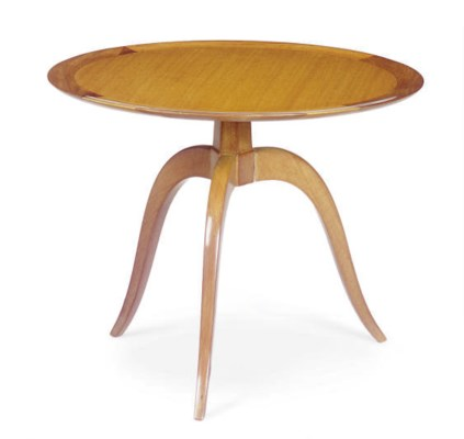 A WALNUT SIDE TABLE,