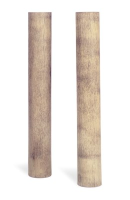 A PAIR OF STAINED OAK PEDESTAL