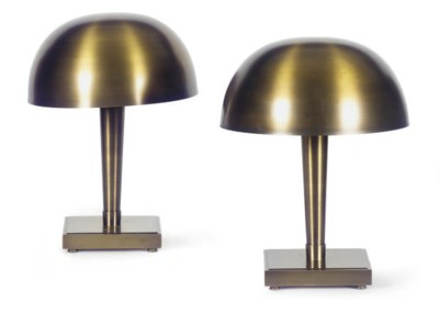 A PAIR OF BRASS TABLE LAMPS,