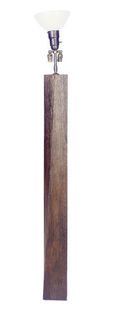 A STAINED-OAK FLOOR LAMP,