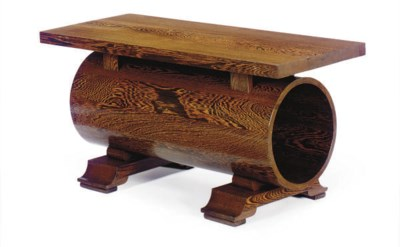 A STAINED OAK COFFEE TABLE,