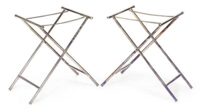 FOUR SILVER-PLATED FOLDING TRA
