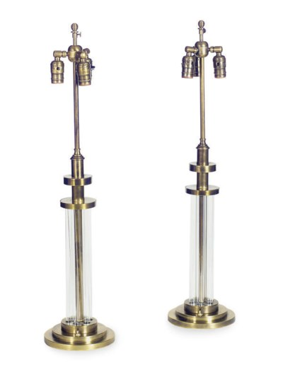 A PAIR OF BRASS AND TUBULAR GL