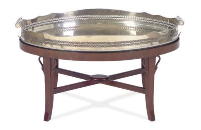 A SILVER-PLATED OVAL SERVING T