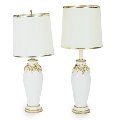 A PAIR OF WHITE-GLAZED AND GIL