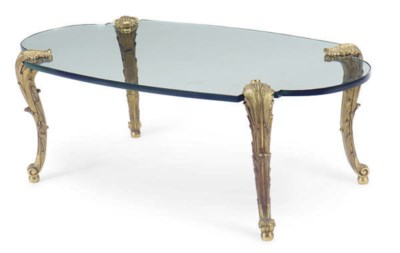 A GILT-BRONZE AND GLASS TOP LO