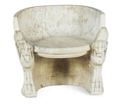 A WHITE MARBLE FIGURAL SEAT,
