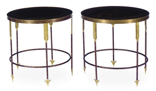 A PAIR OF PATINATED AND GILT-M