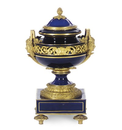 A SEVRES STYLE ORMOLU-MOUNTED