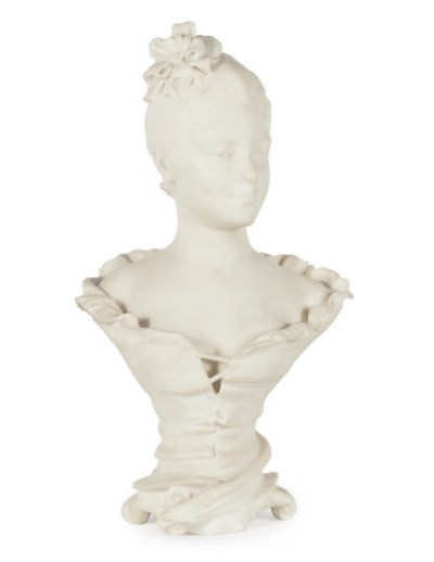 A MARBLE BUST OF A LADY,