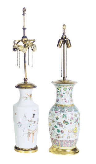 TWO CHINESE FAMILLE ROSE VASES
