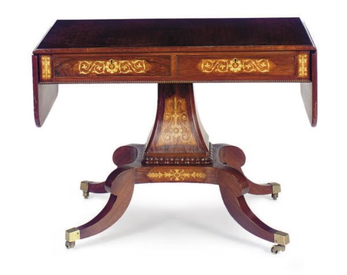 A ROSEWOOD AND FLORAL MARQUETR