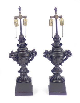 A PAIR OF ENAMELED METAL COVER