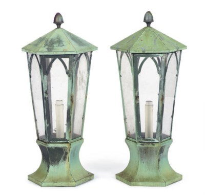 A PAIR OF VERDIGRIS METAL LANT