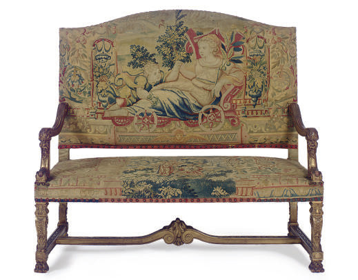 A GILTWOOD AND TAPESTRY-UPHOLS