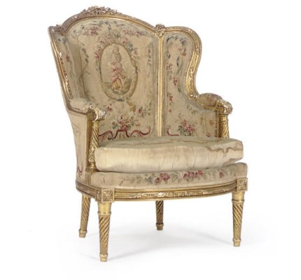 A GILTWOOD AND NEEDLEWORK UPHO