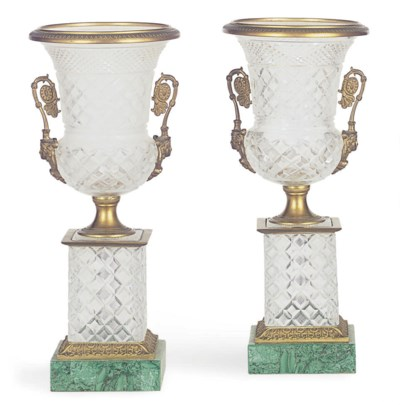 A PAIR OF ORMOLU MOUNTED CUT-G
