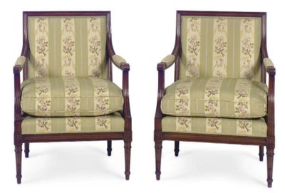 A PAIR OF STAINED WOOD AND UPH
