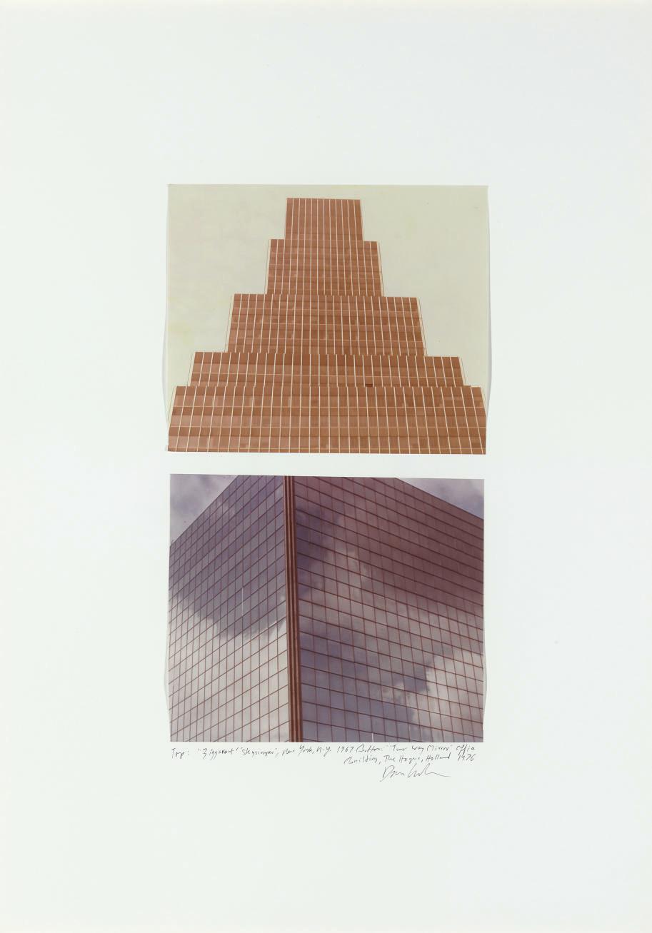 "top: 'Ziggaurut' 'Skyscraper,' New York, N.Y. 1967 bottom: ""Two Way Mirror"" Office Building, The Hague, Holland 1976"