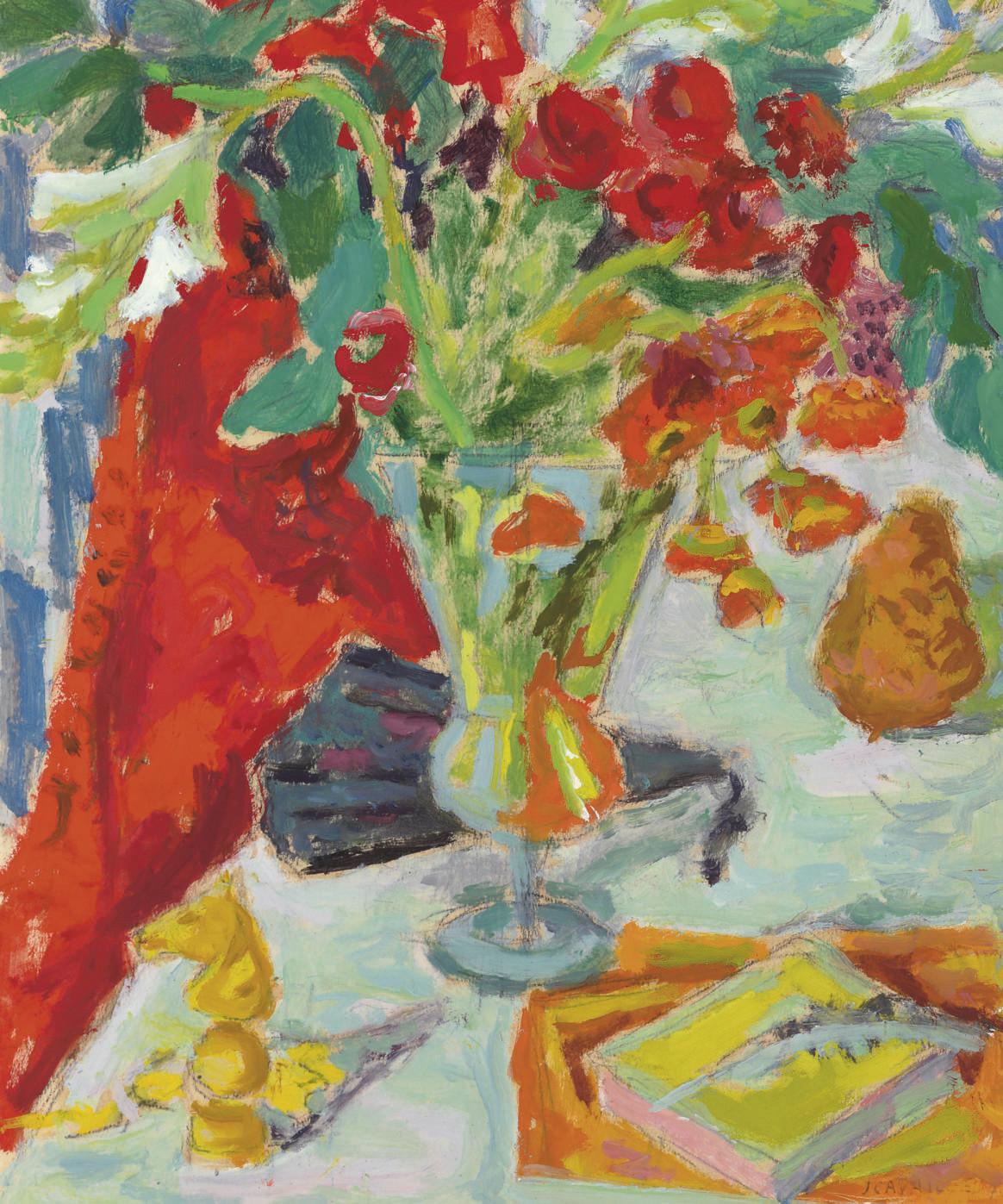 Vase, éventail et livre sur table