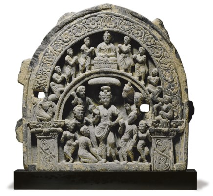 A gray schist relief of Buddha