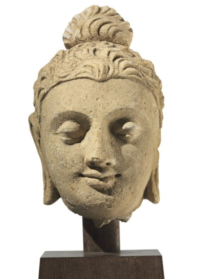 A stucco head of Buddha