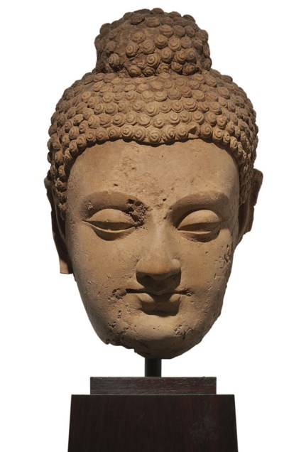 A terracotta head of Buddha
