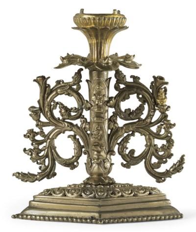 A bronze base of a lotus manda
